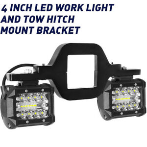 Tow Hitch Mounting Bracket 4 Combo Led Work Light Pods Backup Reverse For Truck