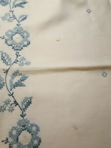 Antique Vintage Fancy Linen Embroidered Hand Sewn Tablecloth 64 X 84