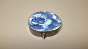 Antique Pill Or Snuff Box Sterling Silver Blue And White Porcelain 925 Hinged