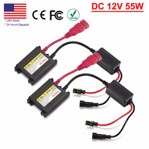 2 Pcs 55w 12v Hid Ballast Xenon Light Bulbs Replacement Conversion Kit Universal