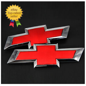 Oem Front Tailgate Bowtie Emblem Red Set For Chevy Silverado 1500 2500 3500