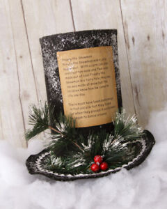 New Primitive Country Vintage Frosty Snowman Hat Song Christmas Display