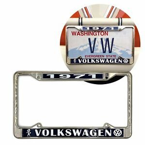 1971 Volkswagen Bubblehead Chrome Dealer License Plate Frame For Vw Bug Bus Ghia