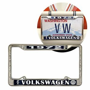 1972 Volkswagen Bubblehead Chrome Dealer License Plate Frame For Vw Bug Bus Ghia