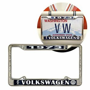 1973 Volkswagen Bubblehead Chrome Dealer License Plate Frame For Vw Bug Bus Ghia