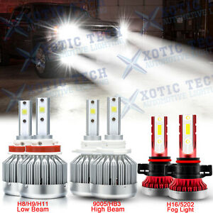 Led Headlights Kit High Low Fog Light 6000k Bulbs For Gmc Sierra 1500 2500 3500