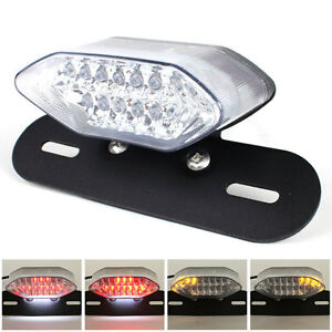 Motorcycle Tail Light Led Integrated Turn Signals Plate Mount Universal Black