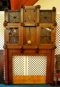 Amazing Arts And Crafts Oak Fireplace Mantel With Clock