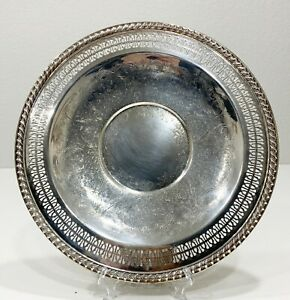 Vintage International Silver Company Handcrafted Serving Tray Plate 12 Usa