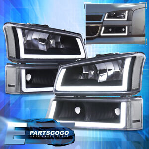 For 03 07 Silverado Led Drl Black Housing Headlights Signals Lamps Assembly