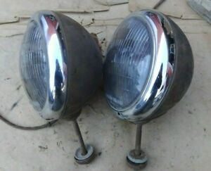 Guide 903 j Headlights Original Pair Custom Rod Ford Chevy Plymouth Dodge Gmc