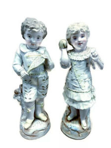 Antique French Or German Bisque Figurine Pair Victorian Couple Boy Girl Heubach