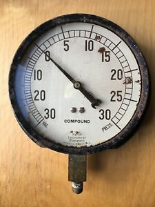 Vintage Marsh Instrument Company Compound Gauge 6 25 Face Steam Punk Mancave