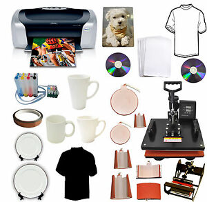 8in1 Heat Press epson Printer ciss sublimation Ink Mugs hat plate t shirts Combo