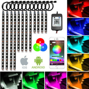 12pcs Motorcycle Cars Rgb Led Neon Under Glow Lights Strip 144 Led For Universal