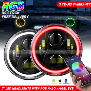 Pair 7 120w Cree Rgb Halo Ring Bluetooth App Led Headlights Jeep Wrangler Jk Tj