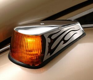 1970 1979 Vw Beetle Thing Stainless Front Turn Signal Covers Polished Flames