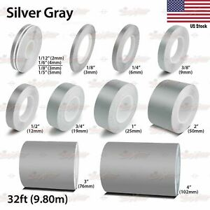 Silver Gray Roll Vinyl Pinstriping Pin Stripe Car Motorcycle Tape Decal Stickers