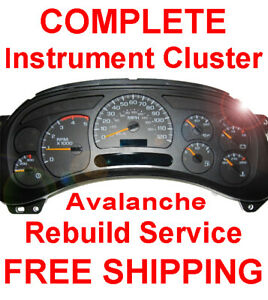 2001 2006 Chevy Avalanche Instrument Gauge Cluster Speedometer Dash Panel Repair