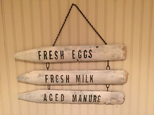 Old Primitive Antique Farm Stand Barn Wood Vintage Sign Eggs Milk Manure Ooak