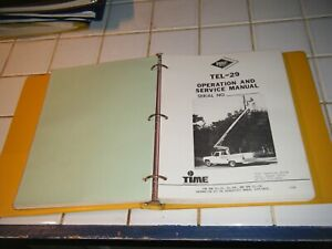 Versalift Tel 29 Operation And Service Manual For Aerial Bucket Man Lift Truck