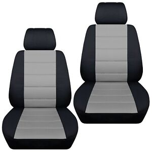 Front Set Car Seat Covers Fits 2002 2020 Honda Pilot Black And Silver
