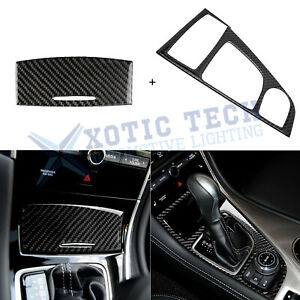 Carbon Fiber Console Gear Shift Box Panel Cover Decal For Infiniti Q50 Q60 14 19