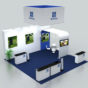 20ft Portable Trade Show Display Booth Kits With Counter Lights Hanging Sign