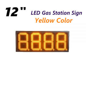 12 Led Gas Station Electronic Fuel Price Sign Yellow Color Motel Price Sign