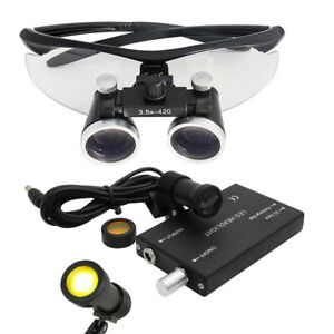 2 5x 3 5x Binocular Dental Loupes 5w Led Head Light W Filter Medical Glasses
