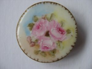 Vtg Antique Large Victorian Porcelain Stud Button Hand Painted Roses 1 7 16 Inch