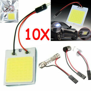 10pcs White 48 Smd Cob Led T10 4w 12v Car Interior Panel Light Dome Lamp Bulb Us