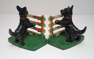 Antique Scottie Dog Leaning On Rose Fence Cast Iron Hubley Bookends Ca 1930 S