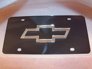 Chevy Laser License Plate Black silver New
