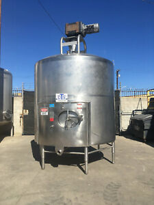 2000 Gallon Stainless Steel Mix Tank Dci Sanitary Cone Bottom Sweep Agitation