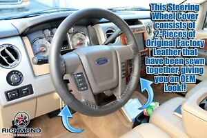 2009 2014 Ford F 150 Platinum Ed F150 Leather Wrap Steering Wheel Cover Black
