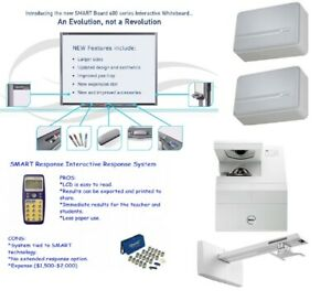 Interactive Smart Board Sb680 And Dell S500 Throw Projector With Clickers
