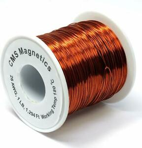 26 Awg Magnet Wire Enameled One Lb Spool W Working Temperature 356 F