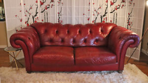Vintage Italian Natuzzi Wine Red Leather Chesterfield Sofa Couch Custom Order 1