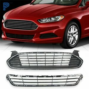 Upper lower Front Radiator Grille Grill Kit For Ford Fusion mondeo 2013 2016