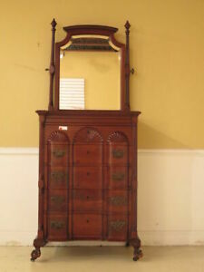 F23156ec Antique Chippendale Style Block Front Mahogany Chest W Mirror