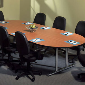 6 Ft 10 Ft Conference Table And 8 Chairs Set Office Room Racetrack New