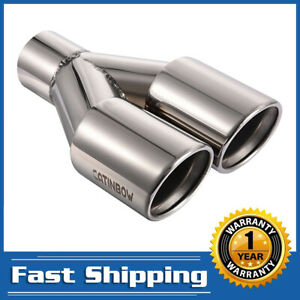 2 25 Inlet 3 Outlet 9 5 Length Dual Exhaust Tips Rolled Edge Stainless Steel
