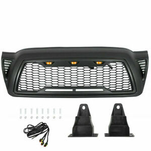 Front Grille Honeycomb Hood Gloss Black For 2005 2011toyota Tacoma W Led Lights