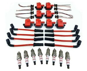 8 Pack Pro Performance Ignition Coil Packs 10mm Wires Spark Plugs Ls1 Ls6 Ls