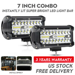 2x7inch 400w Led Work Light Bar Flood Spot Beam Offroad 4wd Suv Driving Fog Lamp