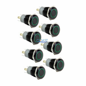 8x Durable 12v 16mm Car Push Button Green Angel Eye Led Latching Light Switch