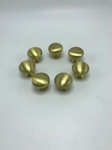 Brass Drawer Pulls Cabinet Knobs Vintage Lot Of 7 Heavy Duty Brushed