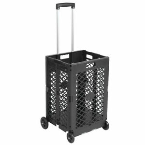 4 Wheels Mesh Folding Collapsible Rolling Utility Cart 55 Lbs Capacity