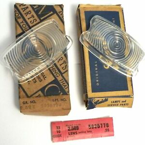 Nos 1941 Chevy Special Master Deluxe Parking Lens Clear Plastic Pair Gm 5935778